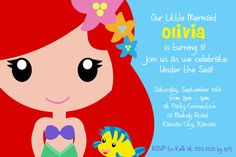 Little Mermaid Printable Invitation por LauraWestDesigns en Etsy