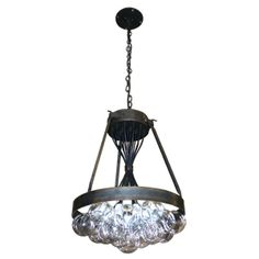 steel and glass chandelier; it has 19 G-30 bulbs!