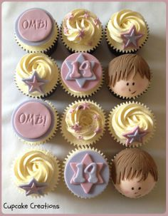 Justin Bieber themed cupcakes