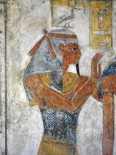 Mural painting of Earth god Geb from the Tomb of Twosret KV14 (r. 1191–1189 BC). Valley of the Kings, Luxor. Queen Twosret was the last ruler of the 19th Dynasty of Ancient Egypt.