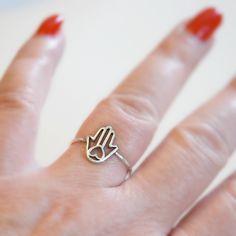Sterling silver hamsa ring - yoga jewelry Yoga Jewelry, Jewelry Shop, Hand Of Fatima, Bead Shop, Hamsa Hand, Minimalist Jewelry, Stacking Rings, Sterling Silver Jewelry, Heart Ring