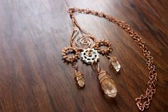 Steampunk Third-Eye Statement Necklace with Crystal by TerraArcana Third Eye, Wire Wrap, Quartz Crystal, Steampunk, Drop Earrings, Eyes, Crystals, Trending Outfits, Unique Jewelry