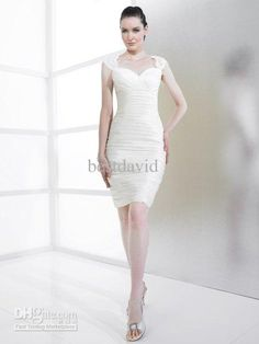 Wholesale Wedding Dress - Buy Sweetheart Lace Cap Sleeves Sheath Wedding Dress 2013 High Back Crystals Sequins Knee-Length T491, $146.59 | DHgate