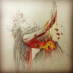 Pencil drawing of Hawaiian Goddess, Pele, by Joseph Buck Hawaiian Mythology, Hawaiian Goddess, Hawaiian Dancers, Hawaiian Art, Hawaiian Legends, Pencil Drawings, Art Drawings, Art Sketches, Hawaiianisches Tattoo