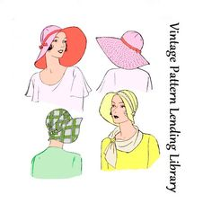1920s Ladies Brimmed Cloche Hat - Reproduction Sewing Pattern #H5651 by VintagePatternGirl on Etsy https://www.etsy.com/listing/210365210/1920s-ladies-brimmed-cloche-hat