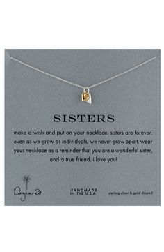 Dogeared 'Reminder - Sisters' Boxed Pendant Necklace   Nordstrom