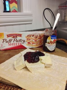 Baked Brie with raspberry pomegranate preserves ... in the works