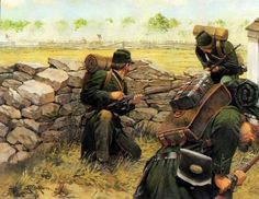 Keith Rocco, my favorite Civil War painter (and personal hero), does a fantastic job with the colors in his portrayal (one of several), with appropriate knapsack, color of uniform, and even the black buttons! ~ BFD