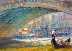 """Geoffrey Wynne - """"Il Ponte Di Rialto - Rialto Bridge, Venice"""""""