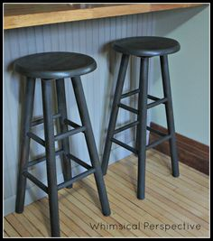 Wooden Stools painted in ASCP Graphite for Industrial look - personal collection  Industrial Stools