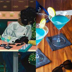 Kerry James Marshall y el cóctel azul – EATING ARTS Blue Curacao, Color Azul, Margarita, Eat, Tableware, Glass, Blue Cocktails, Pineapple Juice, Cocktails