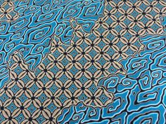 Kenyan Fabric--African Wax Print Fabric--Java Print Fabric--Turquoise and Tan Swirl Print Fabric--African Fabric by the HALF YARD by MoreLoveMama on Etsy