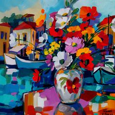 Love the bright colors/ flower in vase Image Painting, Artist Painting, African Paintings, Flower Collage, South African Artists, Impressionism Art, Impressionist, Abstract Landscape Painting, Sea Art