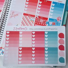 Ombre Heart full boxes and teardrops. #stickers #plannerstickers #planner #erincondren #erincondrenlifeplanner #eclp #jlynnpaperco #etsy #planneraddict #plannerlove #plannerjunkie #valentines #valentinesday