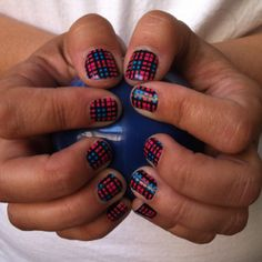 Pink and Blue Plaid! Jamberry Nails!  Love these nail shields, easy to apply, long wearing, and over 200 to choose from! http://cherie.jamberrynails.com