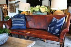 Wabi Sabi is the Japanese philosophy of seeing the beauty in imperfections. Our aged leather sofa perfectly channels the essence. Georgia Brown Home Houston. http://www.bdantiques.com/