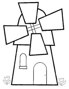 molen Applique Templates, Stencil Templates, Art Template, Applique Patterns, Windmill Art, Coloring Pictures For Kids, Whole Cloth Quilts, Quilting Board, Landscape Quilts