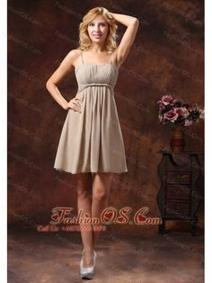 Spaghetti Straps Neckline Bridesmaid Dress With Mini-length Chiffon- $99.46    https://pinterest.com/Fashionos/  http://www.youtube.com/user/fashionoscom?feature=mhee   This short prom dress is simple yet elegant. it features straps and the bodice is decorated with ruching. The amazing short skirt create a beautiful shape to complete the dress. The amazing short skirt create a beautiful shape to complete the dress. You will look like a princess in the beautiful quinceanera dress on your…