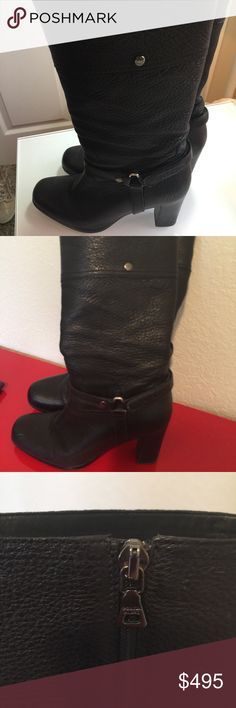"""Prada Black boots leather side zip 9 Super cute awesome  Light wear on heels a couple small scuffs going to shine them up  Heel 3.75 From heel height of boots 14.5"""" $1050 True to size Prada Shoes Heeled Boots"""
