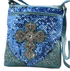 Blue SEQUIN Cross Design X-Body PURSE Bag! Crystal Bling! Available at Posh By Tori Boutique. Check out our store on YouTube! https://www.youtube.com/watch?v=kpzTlDVy16k  - If you're not in MI and would like to order, send us an email or contact us through facebook: http://www.facebook.com/poshbytori