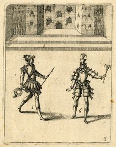 Stage set suggesting a mountain-side, with figures of a messenger and a jester in foreground. Etching    Ballet dansé par le Roy