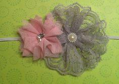 Girls Lace Tulle Flower Headband- Baby/Todder/Girls Headband-. $7.00, via Etsy.