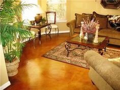a painted and polished concrete floor
