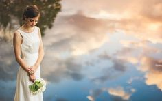 Bridal portrait next to lake // Amazing sky // Sam Hurd Photography
