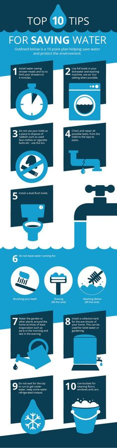 INFOGRAPHIC: 10 tips to save water in your home ~ http://walkinshowers.org/how-to-save-water.html