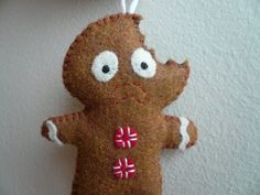 Christmas ornaments - Terrified Gingerbread Man by TheOffbeatBear