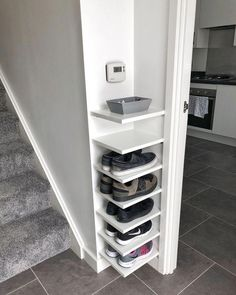 Shoe Storage Our house has a really small entryway meaning theres not much room for things like shoe. ideas small stairs Shoe Storage Our house has a really small entryway meaning theres not much room for things like shoe… Diy Shoe Rack, Shoe Racks, Small Shoe Rack, Narrow Shoe Rack, Shoe Rack Ikea, Shoe Rack Porch, Shoe Rack Holder, Small Space Bedroom, Bedroom Storage For Small Rooms