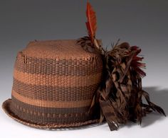 Africa   Hat from the Mangbetu people of Medje, Belgian Congo   Plat fiber, feathers and dye   ca. 1915.