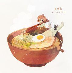 面汤 - Ramen character design illustration.