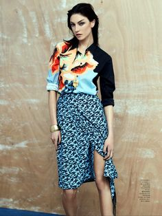 Great look, Jacquelyn Jablonski by Driu Tiago - March 2014. Wearing the sometimes uneven, but generally erudite and original Etro.