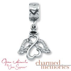 This Charmed Memories® angel charm is from the Open Hearts by Jane Seymour® collection. The special charm is accented with white crystals.