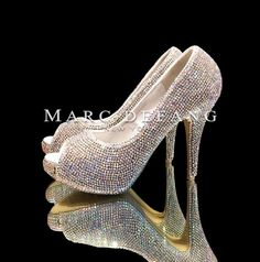 Wedding Shoes Ultimate Luxury Clear Casing Crystals Peep by MDNY, $239.00