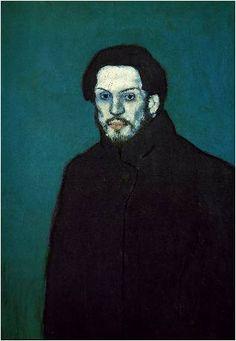 피카소, <자화상>, 1901  청색 시대의 피카소는 친구 까를로스 카사헤마스의 자살로 인해 충격 받은 상태였으며 친구의 죽음과 더불어 가난, 슬픔, 고독이 그의 그림에 나타난다