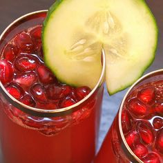Pomegranate-Cucumber Champagne Cocktails