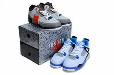 6177ccba52cf8c Nike Air Jordan 3 Grey Red Black And Air Jordan 4 Blue White Nike Air  Jordans