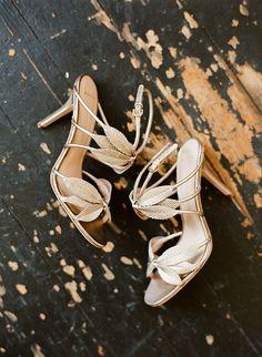 Vintage Wedding Inspiration | Gold Leaf Wedding Shoes | Whitney Neal