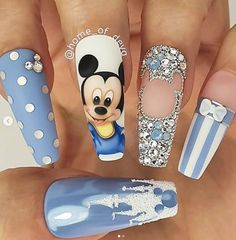 Beautiful hand painted Baby Mickey Mouse nails by Ugly Duckling Family Member 😍 Ugly Duckling Nails is dedicated to keeping love, support, and positivity flowing in our industry ❤️ Nail Design Glitter, Nail Design Spring, Cute Acrylic Nail Designs, Nails Design, Glitter Nails, Disney Acrylic Nails, Summer Acrylic Nails, Best Acrylic Nails, Summer Nails