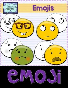 Emoji Smiley Faces Emoticons Clipart Bundle includes 24 colored and 24 line art images to represent some of the Whatsapp messenger emojis. Includes: - Looking up - Nerd - Scared - Sick
