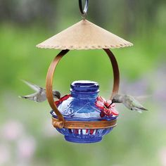 A rustic tin cupola shelters this Pot de Creme hummingbird feeder from Parasol. This hummingbird feeder is handmade from recycled glass and offered in blue glass with red flower feeding tubes. of nectar. Hummingbird Feeder Parts, Hummingbird Garden, Hummingbird Food, Beautiful Birds, Beautiful Gardens, Shelter, Bird House Kits, Glass Garden Art, Humming Bird Feeders