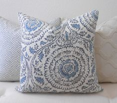 Gray and blue medallion linen floral decorative by pillowflightpdx