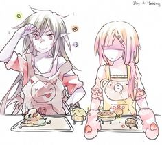 Marceline and Bubblegum baking.