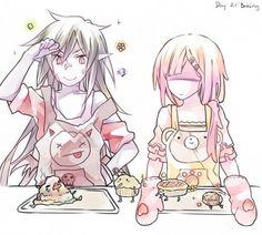 Marceline and Bubblegum baking.