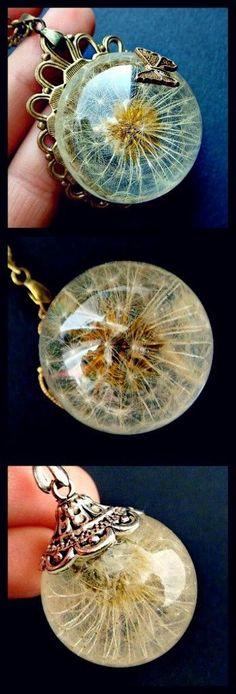 DIY Dandelion Jewelry Necklace Project Quão legal é dente de leão numa bela jóia