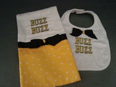 GEORGIA TECH bib and burp cloth set in team colors for baby. A fun set for the baby of a Georgia Tech graduate or fan. Go Yellow Jackets!
