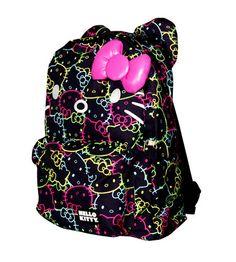 Loungefly O Kitty 16 Backpack W Bow Neon School Book Bag Black Tote Box Nwt