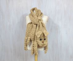 Beige dog  animal scarf funny doggie puppy original scarf winter accessory warm scarf knitted for animal lovers (70.00 USD) by Florfanka